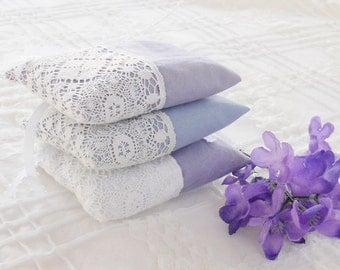 French Wedding Inspired Lavender Sachets Set of 3, Bridal, Ring Bearer, Housewarming Gift Inspired, Home Decor