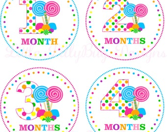 Monthly Baby Milestone Stickers Baby Girl Baby Shower One-Piece Baby Stickers Monthly Candy Pink Blue Multi Baby Stickers Baby Month Sticker