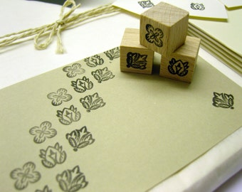 Set of 3 Mini-stamp flowers