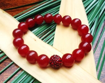 Ruby Red Bead Bracelet//Red Stretch Bracelet//Red stackable bracelet