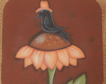 Crow, Sunflower,Primitive, EPATTERN, Fall Decor, hat, Painting Pattern,Tole Painting,Acrylic,Fall Decor,Whimsical, Make it Yourself, Autumn