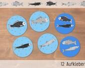 Fische (Hering & Karpfen) - 3 x 4 runde Aufkleber - Durchmesser 40mm - auf weiße Etiketten gedruckt - schön verpackt