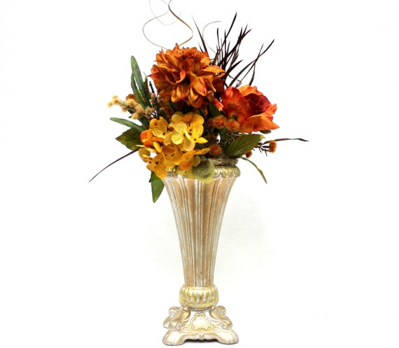 Silk flower arrangement wedding table centerpiece dining room for Dining room flower arrangements
