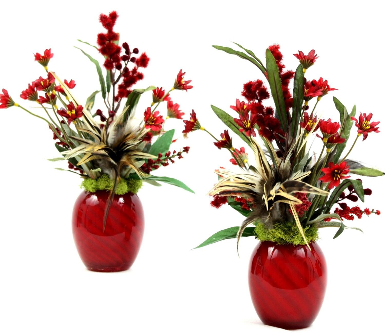 Mantel Arrangements: Fireplace Mantel Décor Silk Floral Arrangement In Matching