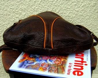 Bag brown leather shoulder strap, made in France1970