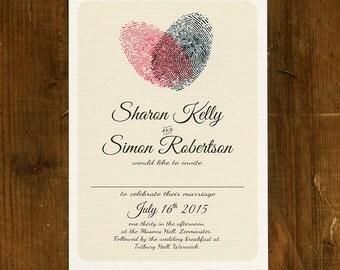 Fingerprint Heart Wedding Invitation Set or save the date on Luxury Card - Wedding invitations UK, Wedding invitations Australia