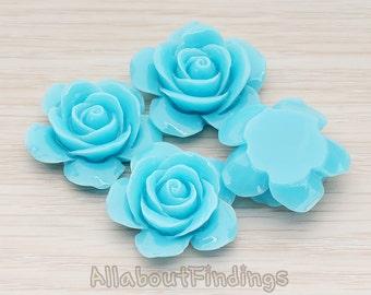 CBC189-TU // Turquoise Colored Rose Flower Flat Back Cabochon, 2 Pc