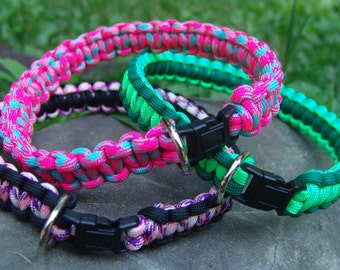 cobra braid Paracord Dog collar with D-ring