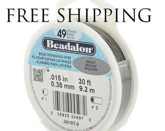 Beadalon 49 Strand Beading Wire .015 30ft & 100ft Spools - Free Shipping - Beading String Tiger tail Beadalon 49 15 30 100 - Beading Wire
