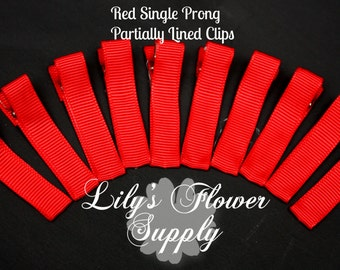 Red Lined Clips - Single Prong - Partially Lined Clips - Alligator Hair Clips - Set of 10 - 45 mm