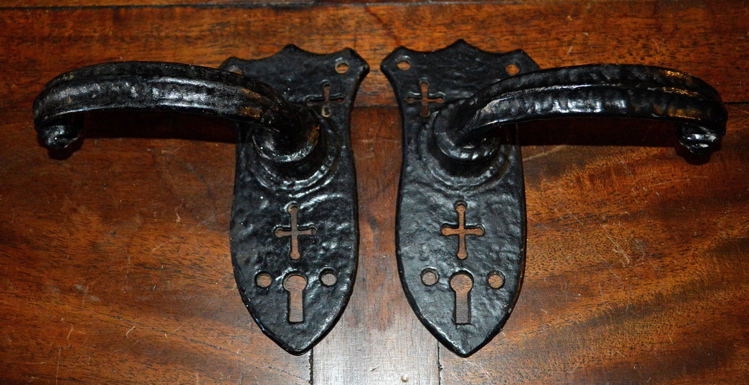 Antique English Door Knob Handles With Crosses By