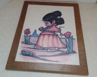 """Little Indian Girl print applied to  board, by Christopherson.   Made in Albuquerque NM. 10x12"""""""
