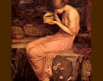 "Psyche Opeining Golden Box, 1903, John William Waterhouse, Greek Mythology  11x14"" Cotton Canvas Print"