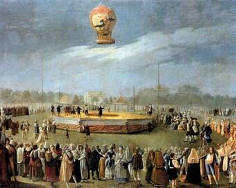 "Ascent of a Balloon, 1808, Antonio Carnicero Y Mancio, Charles the IV, Court,  8x10"" Cotton Canvas Print"