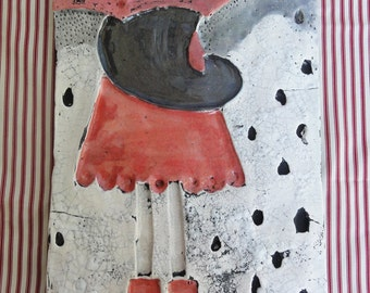 Little girl with red umbrella - Panel, Home Decor, Wall Decor, Sculpture