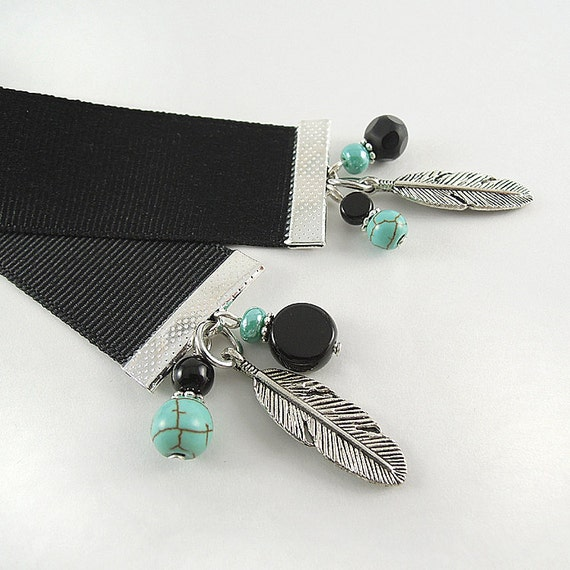 Ribbon Bookmark - Feather - Turquoise Howlite