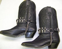 Pair of Black Leather Boot Straps With Chrome/Silver Bullets Hanging Chain Biker Punk Hand Made in U.S.A. Studs Spikes (Boots Not Included)