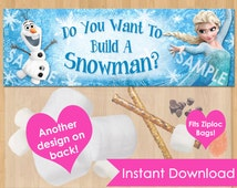 Frozen Bag Toppers INSTANT DOWNLOAD, Printable Frozen Favor Bags Topper, Frozen Party Bags Topper, Treat Bag Loot Birthday Olaf Snowman
