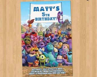 Monsters University Birthday Invitation - Monsters University Invitation - Monsters Inc University Party Printable - Monsters Inc Invitation