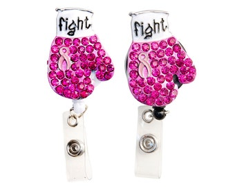 New Custom Bling Pink Rhinestone Breast Cancer Awareness Ribbon Boxing Glove ID Badge Pull Reel Retractable ID Badge Holder