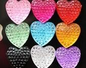 20 Pcs - 13mm Multi Colored Heart Flatback Cabochons (RS083)
