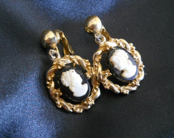 Classic Goldtone and Black Cameo Clipon Earrings