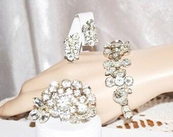 Vintage 1940s Signed Eisenberg Bracelet with Brooch and Earrings