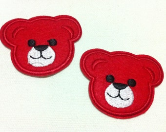 Lot Of 2 Pieces Red Cutie Bear (5.5 x 4.5cm) Embroidered Iron on Applique Patch (AL)