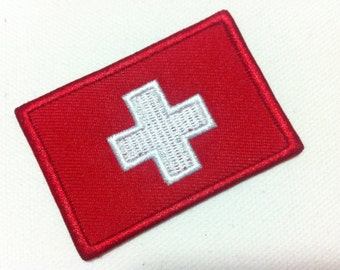 Switzerland Flag (6cm x 4 cm) Embroidered Iron on Applique Patch World Flag (B)