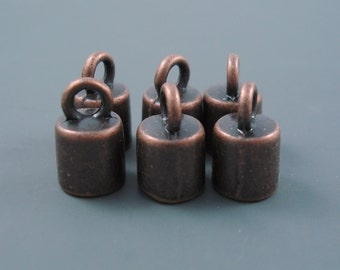 6MM End Cap, Six Copper Clad Caps for Leather, Kumihimo or Cord (Cap6-006)
