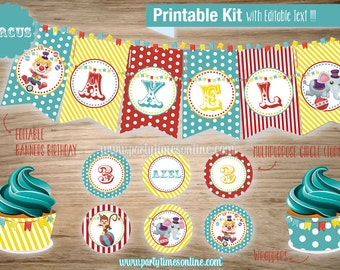 CIRCUS Instant Download printable kit EDITABLE Text Circus Decoration Birthday Party Package Theme Kit Printable PDF