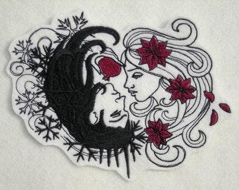 "Hades and Persephone, Underworld, Greek Mythology,  Large 5"" x 6.75"", Biker, Motorcycle, Embroidered Patch"