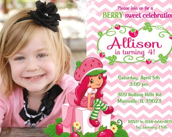 Strawberry Shortcake Birthday Party Invitation - Digital File