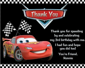 Disney Cars Lightning McQueen Thank You Card