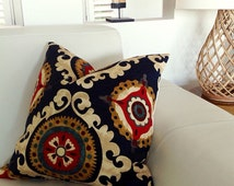 "Boho Cushions ""Only 2 Left"" Lumbar Pillows Gypsy Navy Blue Pillows Ivory, Tan, Red, Green, Burgundy Cushions Ethnic Style,  Designer Fabric"