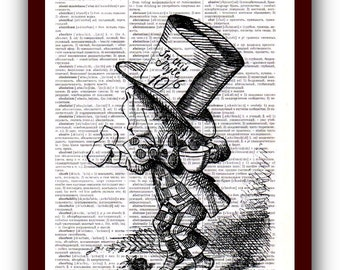 Print Wall Art Alice in Wonderland Home Decor  Art Print: upcycled dictionary pages  musical Notes Art Print