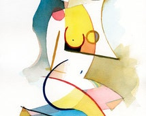 """Mature Nude Figurative Watercolor titled """"Reflection"""" by David Ralph (8 x 10)"""