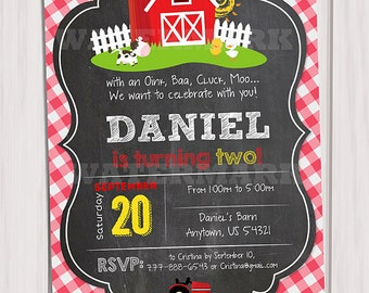 Farm Invitations Old McDonald Invitations Country Birthday Party Chalkboard Farm Birthday Invitation Personalized Printable pdf