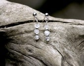 CYBER MONDAY SALE Three hand cut milky moonstones on sterling silver stud earrings - GardensOfTheSun