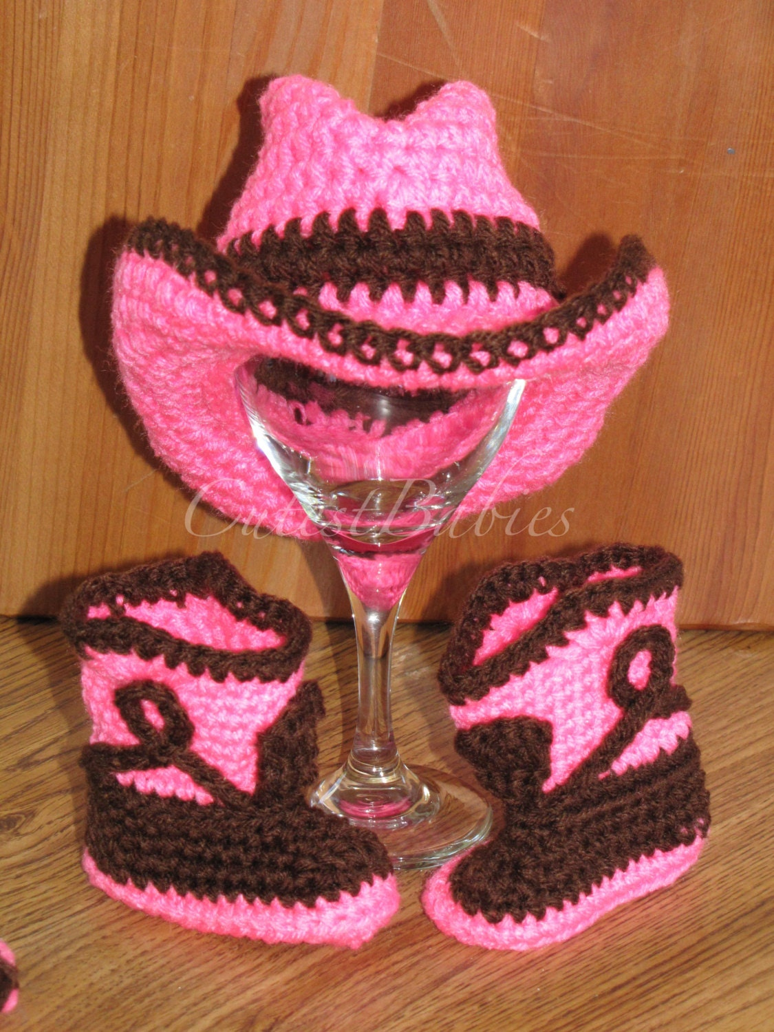 Crochet Pattern For Cowboy Hat And Boots : Newborn Baby Crochet Cowboy Hat & Boots Photo Prop....