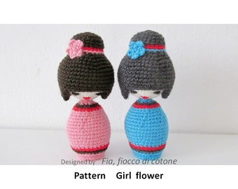 Easy Amigurumi Patterns For Kokeshi : Pattern Dewdrop kokeshi doll amigurumi crochet by cottonflake