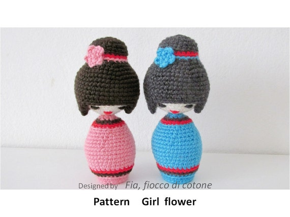 Amigurumi Rose Pattern Free : Pattern Girl flower kokeshi doll amigurumi crochet by ...