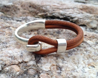 Sailwinds Nautical Bracelet - Blackbeard - Copper Brown Half Cuff Leather Bracelet Hand-Crafted in Maine
