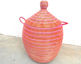 Red, orange and pink utility basket, laundry basket, handwoven chest, african hamper,