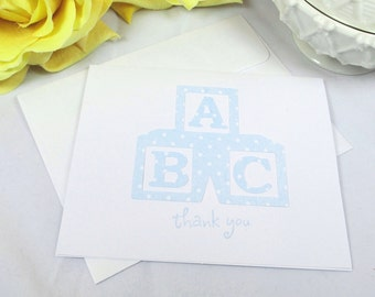 10 Thank You Cards - Baby Cards - Baby Shower Cards - Baby Boy Cards - Baby Blocks Cards - Baby Thank You Cards - Baby Thank You Notes
