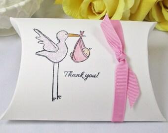 10 Stork Baby Shower Pillow Box - Baby Girl Favor Box - Pink Favor Pillow Box - New Baby Box - Baby Shower Favor - New Baby Girl Favor Box