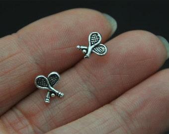 Sterling Silver Earrings, tennis racket  Studs Earrings, tennis racker  Earrings, Tiny Earrings, tennis racket ear studs