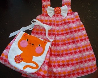 Orange/pink cute little girls dress with matching appiqued cat face purse SALE was 49