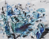 Original Contemporary Cityscape Drawing, Landscape Painting, Mixed Media Painting, Abstract Artwork, Original Painting