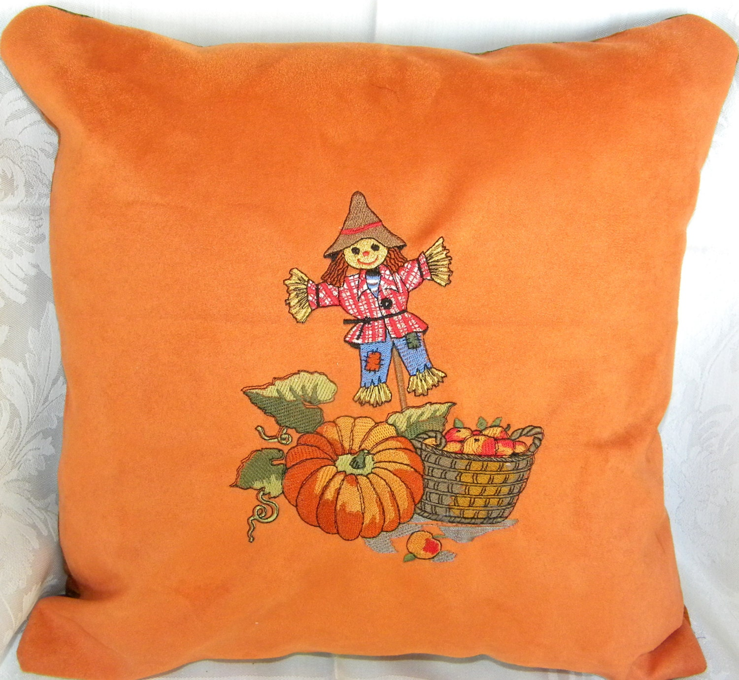 Decorative Pillows For Fall : Fall Decorative Pillow Embroidered Scarecrow by SewGoodbyDolores